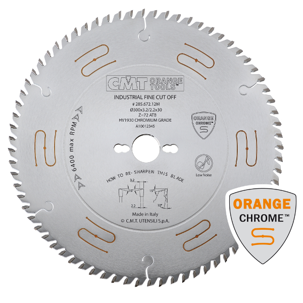 Industrial low noise & chrome coated circular saw blades with ATB grind288